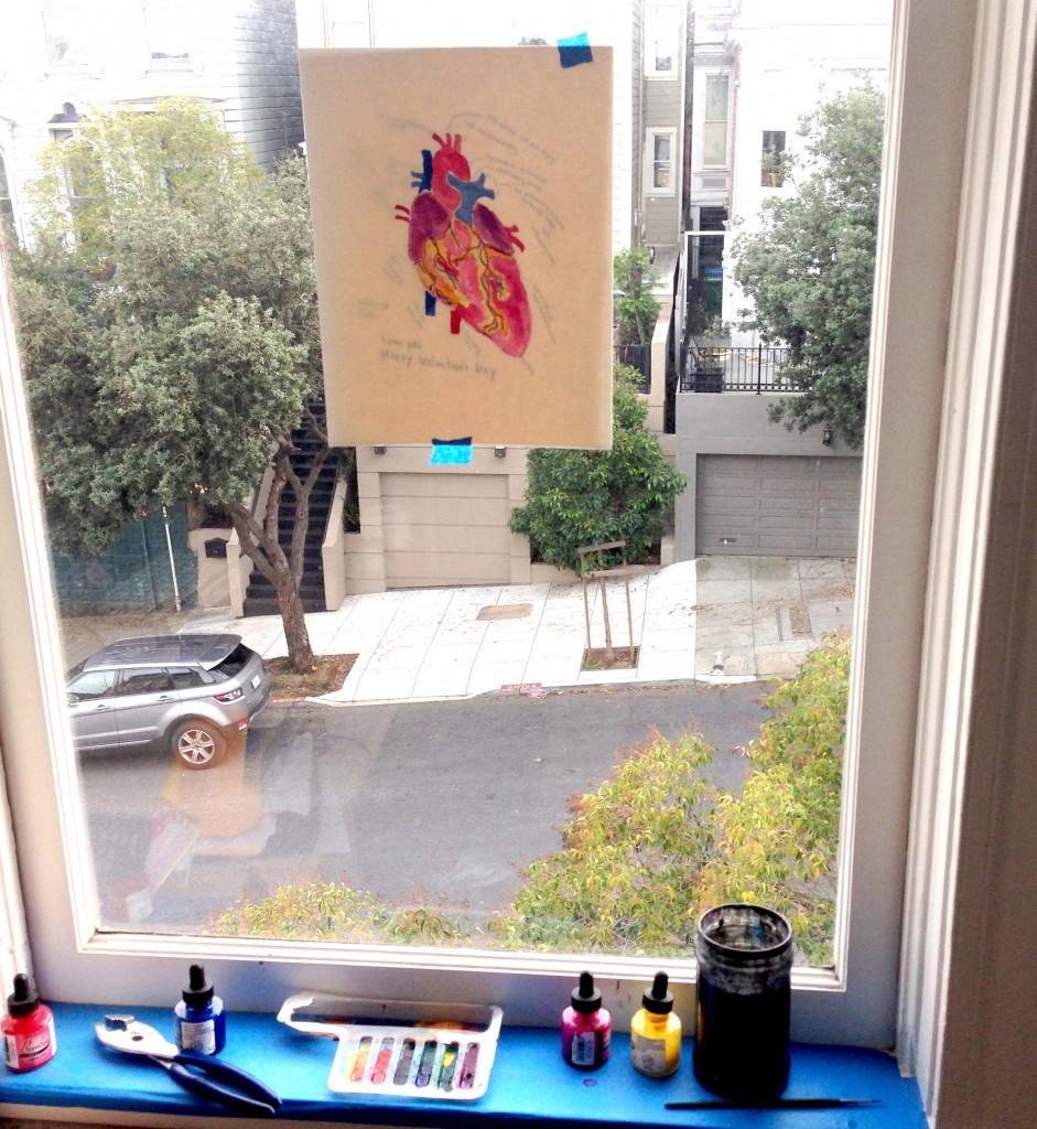 heart drawing on window