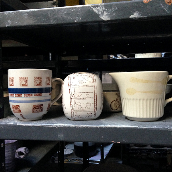 """Range of decal colorings on a range of commerical pieces - note how faded decal is on right most """"antiquey"""" piece"""
