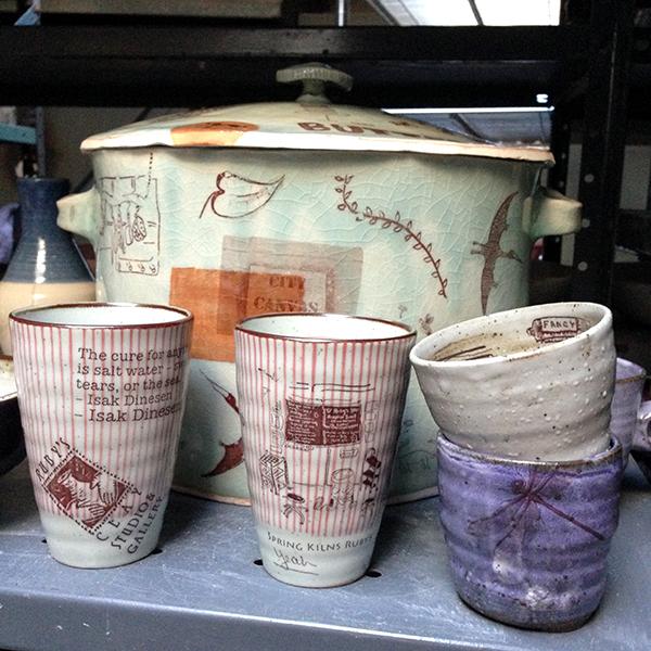 Love the decals against Ellie's stripes + dragon fly on Nancy's purple mug